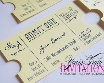Ticket Place Cards for a Wedding or Party