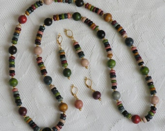 Earth Tones Wood Necklace and Earring Set 2