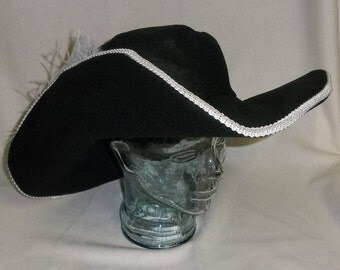 Black Musketeer- Classic Cavalier Style Hat with White Trim and Feathers
