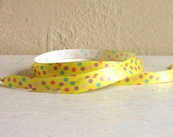Pair Of Sunshine Yellow Shoe Laces With Colorful Dots