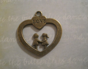 Set of 10 antique bronze love heart charms