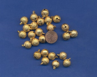 25 Pack of Gold colored Bells, 12mm, Stardust Finish