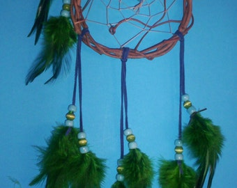Native American inspired Dream Catcher 4-378, Chicken Feathers, Glass Beads, Grapevine