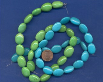 "Two Strands of Chalk Turquoise, 2 colors, 16"" each"