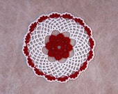 Red Rose Lattice Lace Crochet Doily, Cottage Chic Home Decor, Table Accent, Handmade