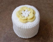 Cottage Rose Crochet Toilet Paper Cover, Yellow & White Flower, Bathroom Home Fashion, Handmade