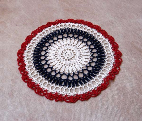 Americana Red White Blue Crochet Doily, Patriotic Home Decor, Table Accent, USA Flag Colors, Handmade