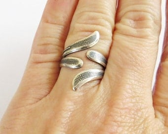 Twist Ring- Intertwined Bypass Ring- Sterling Silver Ox Finish