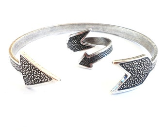 Steampunk Arrow Ring & Cuff Bracelet Gift Set-  Sterling Silver Ox Finish