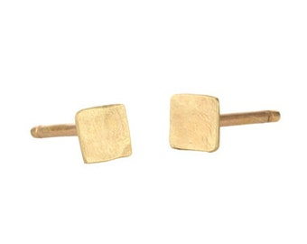 Delicate Square Hammered 14k Gold Earrings