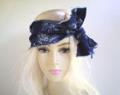 Denim Boho Rose Headwrap, Dark Blue Denim Head Wrap, Denim Head Scarf, Dark Blue Denim Headband, Hippie Headband