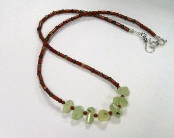 Handmade Necklace with Prehnite Nuggets, Red Jasper and Poppy Jasper