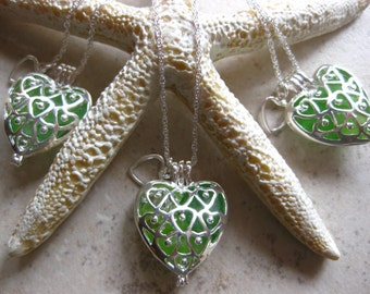 Irish Sea glass Necklace - Irish Wedding Jewelry Seaglass Locket Necklace Beach Glass Jewelry, Handmade Custom Jewelry
