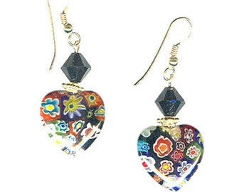 Millifiore 18mm glass heart crystal goldfilled earrings OOAK