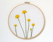 Embroidered dandelions on white cotton wood embroidery hoop wall art