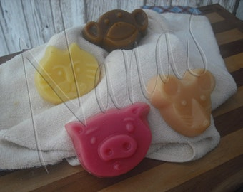 Monkey, Mouse,  Cat, Pig  Shaped  Candle Wax Tart Melts - You Choose Scent - You choose shape