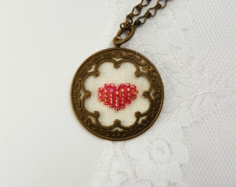 Heart Necklace / Antique Brass  / Pink Rose  / Hand Embroidered  / Valentines Day