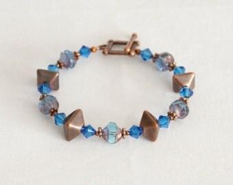 Copper and Cobalt Bracelet