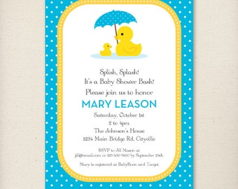 Custom Boy Rubber Duck Baby Shower Invite Blue and Yellow - Personalized Printable Digital Invitation - Personal Use Only