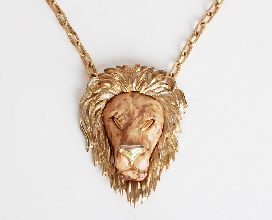 Vintage 60s 70s Gold Razza Lion Head Pendant By