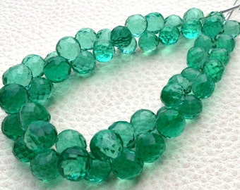 Full 8 Inch Long Strand, SEAFOAM GREEN Quartz Micro Faceted Onions Shape Briolettes, 7-8mm size,Superb Item at Low Price