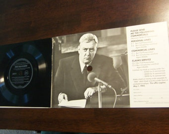 "45 rpm 7"" record & sleeve Raymond Burr / Perry Mason vintage 1980s independent insurance agents rare ad memorabilia"