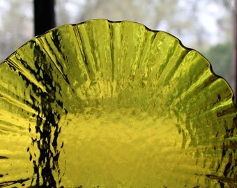Fused Glass Ruffled Bowl, Yellow