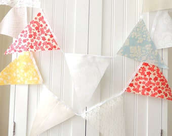 Wedding Banner, Bunting,Garland Fabric Pennant Flags, Yellow, Coral, Blue, Cream, Tan and White, Birthday Party decor, Photo Prop