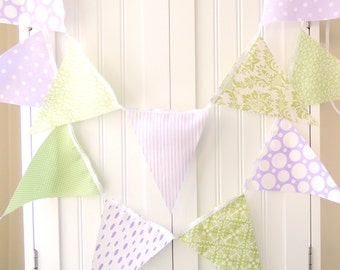 Party Banner Bunting, Fabric Pennant Flags, Pastel Purple, Light Green, Birthday, Wedding Garland, Photo Prop, Baby Shower, Nursery Decor