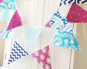 Party Banner, Bunting, Fabric Garland Pennant Flags, Purple, Aqua, Royal Blue, Birthday Party, Wedding Decor, Photo Prop, Baby Shower