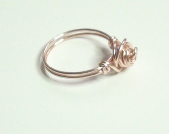 Rose Gold Love Knot Ring  Handmade 2 bands Wire Wrapped  Rose Gold Jewelry Ring Sizes 1-14 Choose color