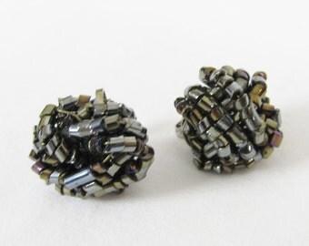 Vintage 1960's Earrings / Black Beaded Clip On Earrings