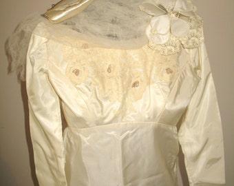 Vintage 1950's Wedding Dress - Empire Waist Wedding Dress - Head Piece and Handbag-