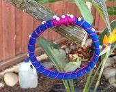 Blue Fiber Bracelet with white seed bead - Ultra blue and dark pink bracelet