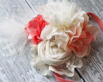 Dreamy Dahlia-  ivory & coral rosette, silk flower lace and feather headband