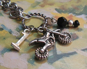Dirt Bike Necklace with Number and Colors