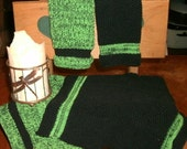 Four Large lime green and black Pre- shrunk 100 percent cotton machine knit dish cloths...11 inches X 12 inches