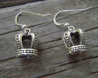 Medieval crown earrings in sterling silver