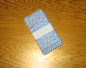 Blue 1930's Feedsack Floral Cloth Napkins Set of 4