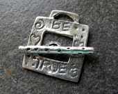 Whimsical Sterling Silver Toggle Clasp Square Inspiration Be True 18.5mm Artisan Made
