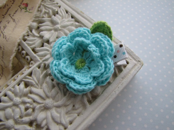 Sky blue . crochet flower . hair clippie . toddler hair accessory