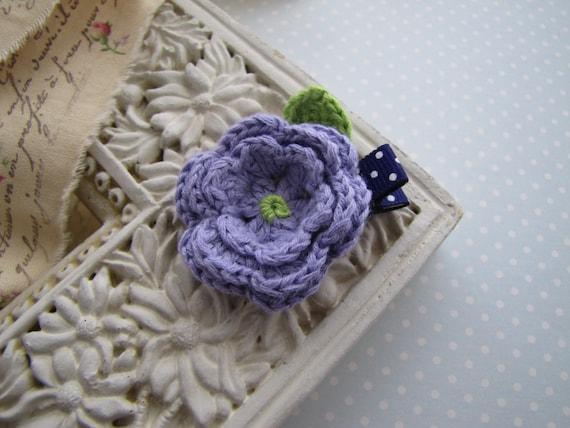 Lavender . crochet flower . hair clippie . toddler hair accessory