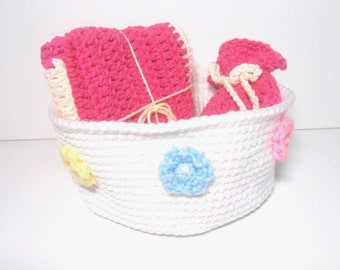 Bath Set White Bowl Two Washcloths Soap Bag, Mother's Day Gift