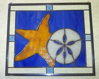 Starfish & Sand Dollar Stained Glass Panel