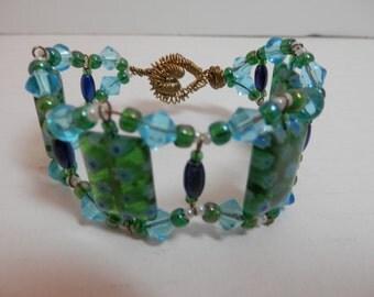 Beaded Lampwork Bangle Cuff Bracelet Turquoise Aqua Blue Green Brass/Gold Wire Clasp Original Hand Design Unique Fashion OOAK Handmade Gift