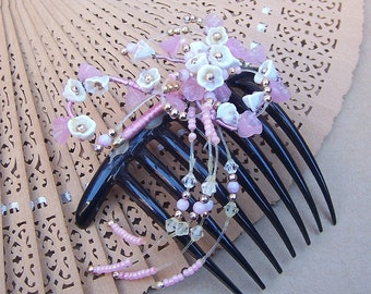 French twist hair comb Venetian glass beads faux pearls hair accessory hair pin hair pick hair jewelry hair ornament headdress (AAC)