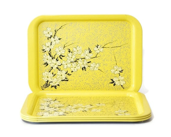 Vintage Metal Tray, Yellow Serving Tray, Dogwood Flower