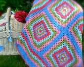 Handmade Granny Square Crochet Blanket in Cath Kidston colours. Great as a picnic blanket , for a campervan, as a photo prop or gift.