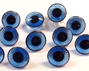 25mm Blue Doll Eyes VINTAGE Plastic EYES Crystal Cut Rimmed Six (6) Pairs Owl Eyes Doll Vintage Doll Parts Creepy Doll Making Supplies (M76)