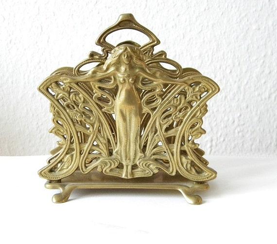 vintage letter holder art nouveau style brass letter holder With vintage letter holder
